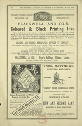 Advert for Blackwell & Co's coloured & black printing inks